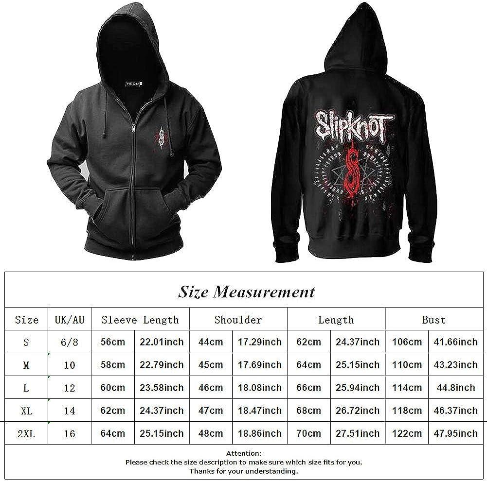 Herqw61 Mens Slipknot Heavy Metal Band Zip Hoodies Jacket Long Sleeve Pullovers Sweatshirt Tracksuit