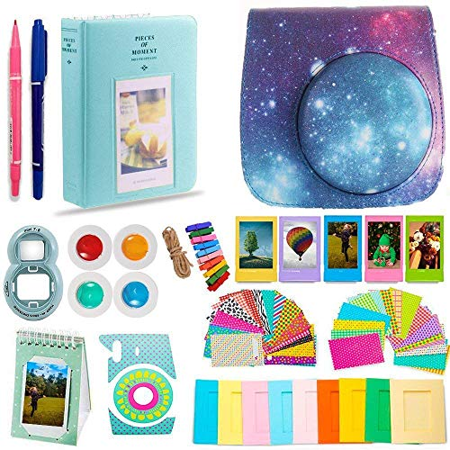 DNO Fujifilm Instax Mini 9/8 Camera Accessories (11 Piece Kit) – Includes Protective Case/Hanging Frames/Filters/ Selfie Len/Photo Album/Stickers and More – Portable