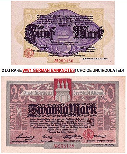 DE 1918 2 LARGE RARE WW1 GERMAN EMPIRE BANKNOTES in CHOICE CRISP UNCIRCULATED COND.! FROM HAMBURG Choice Crisp Uncirculated