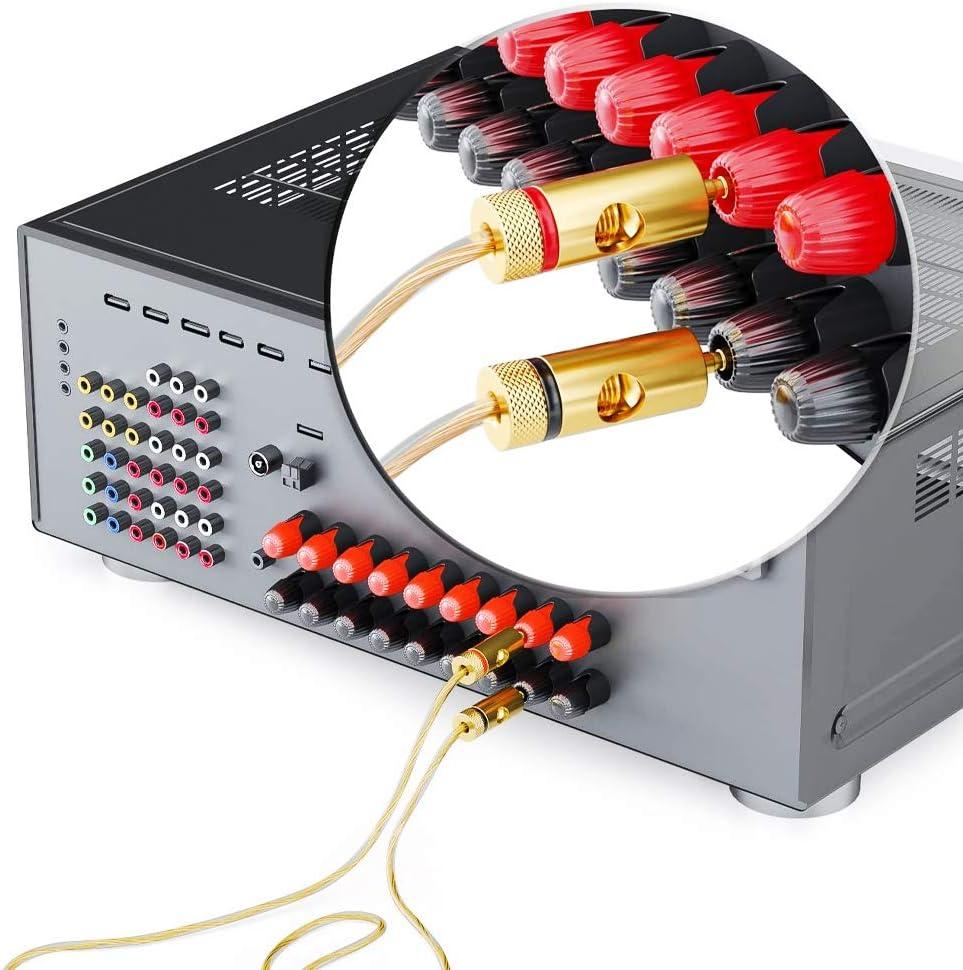 tornillo abierto 4 rojos, 4 negros cable est/éreo para altavoces conector de audio hembra cine en casa conector de banana de metal YFOX Conector de banana para altavoz chapado en oro