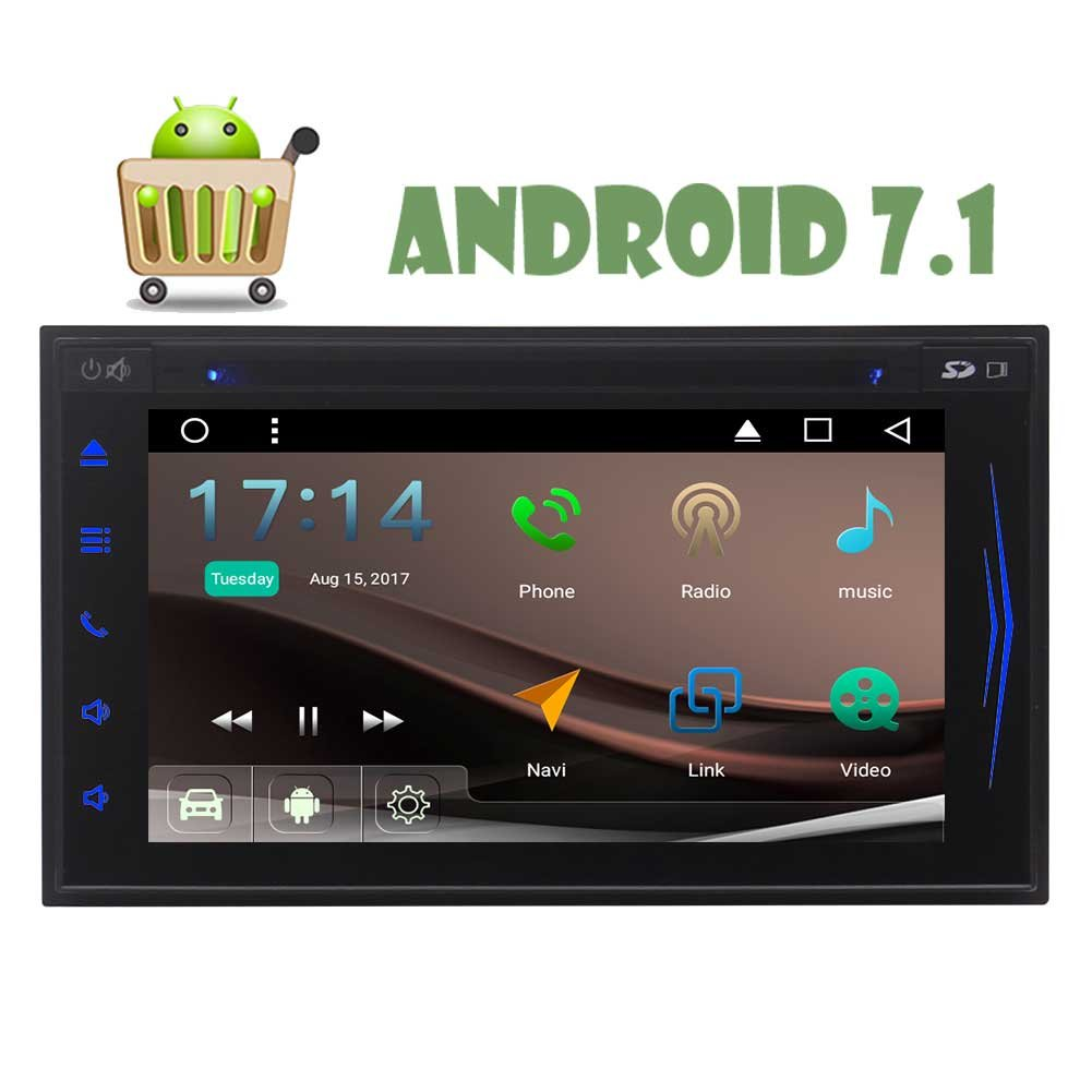 Latest Android 7.1 Octa Core 2G 32G Double Din Car Stereo GPS Navigation In Dash Car DVD Player with Bluetooth WIFI 6.2 Capacitive Touchscreen Support AM/FM Reverse Camera Video-out OBD2 B075YLC31S