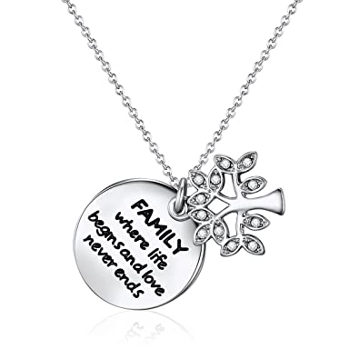 cacb641c1 Mestige Family Forever Necklace with Swarovski Crystals (Silver), Gifts  Women Girls, Pendant, Tree of Life, Inscriptions: Amazon.co.uk: Jewellery