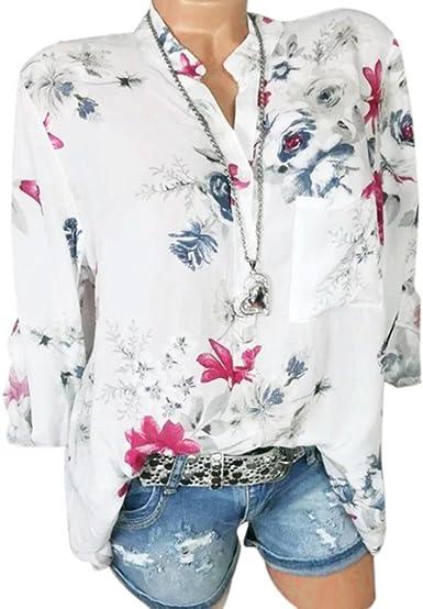 Lenfesh Camisas Manga Larga Mujer Camisa Flores Mujer Verano Blusa Manga 3/4 Elegante con botón para Mujer Primavera Verano Camisetas Tallas Grandes: Amazon.es: Ropa y accesorios