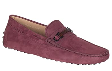3e8eeb80698 Tod s Men s Barolo Red Nubuck Gommino Buckle Driving Moccasin Loafer Shoes