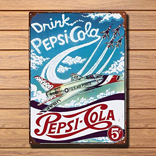 (Pepsi Cola Jets Retro Metal Plaque Vintage Metal Tin Sign Retro Tin Plate Sign Wall Art Decor TIN Sign 7.8X11.8 INCH)