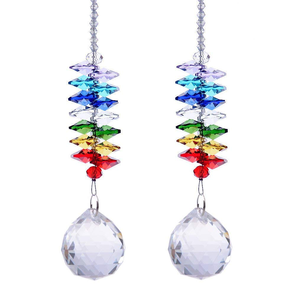 HS Novelty Glass Crystal Ball Prism Rainbow Maker Chakra Hanging Suncatcher Window Sun Catcher for Gift (Pack of 2)