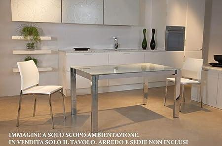 Tavoli In Acciaio E Cristallo.Rd Italia Tavolo Da Interno Allungabile 140 190x85 Cm In Acciaio