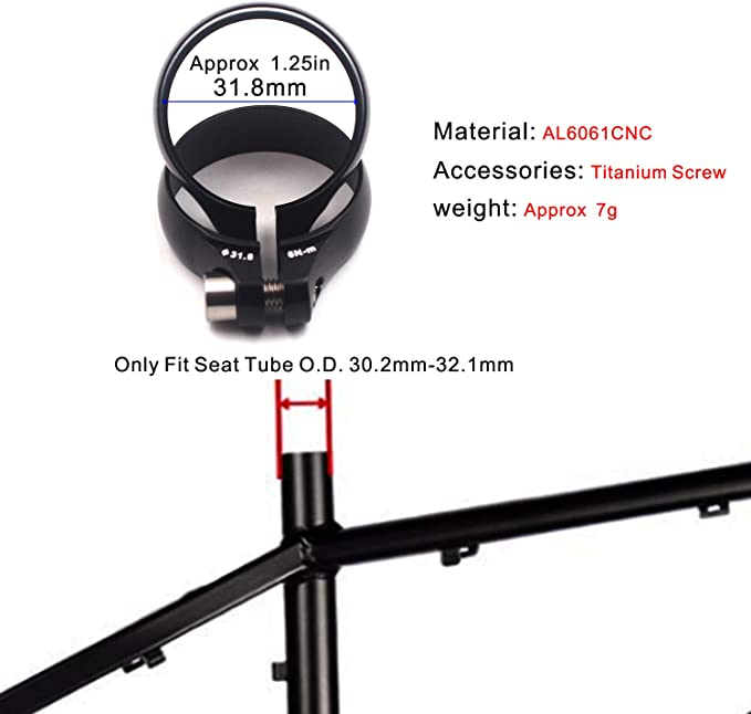 8g Road MTB bike SeatPost Clamp 34.9MM Ti Titanium Bolt FOR 30.9 31.6 ~ RED