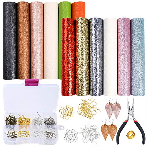 Caydo 12 Pieces A5 Size Faux Leather Fabric Sheet Include 4 Style Leather Fabric, with an Instructions, 80pcs Earring Hooks, 80pcs Jump Rings and Pliers for Earrings Making - Faux Leather 12