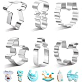 SveBake Baby Shower Cookie Cutter Set - Mini 6 Pieces Rust-proof Stainless Steel Biscuit Cutters with Shapes of Onesie,Rattle,Bib, Rocking Horse, Bottle,Baby Carriage
