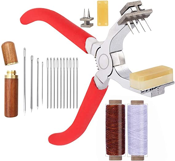 Braun Leder Werkzeug Ledernadeln Leder Nähen Locher Stechahle Stitching Set#J1