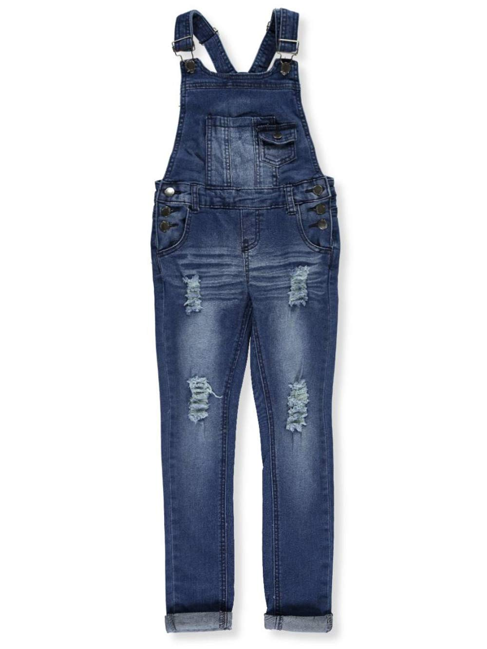 Teen G's Big Girls' Skinny Overalls - Medium Blue, 7