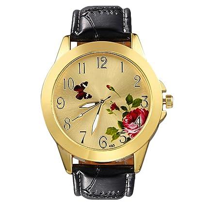 bluelans® Unisex Mujer Reloj Vintage Mariposa Flor Rosa Piel Sintética Reloj de cuarzo analógico Vestido