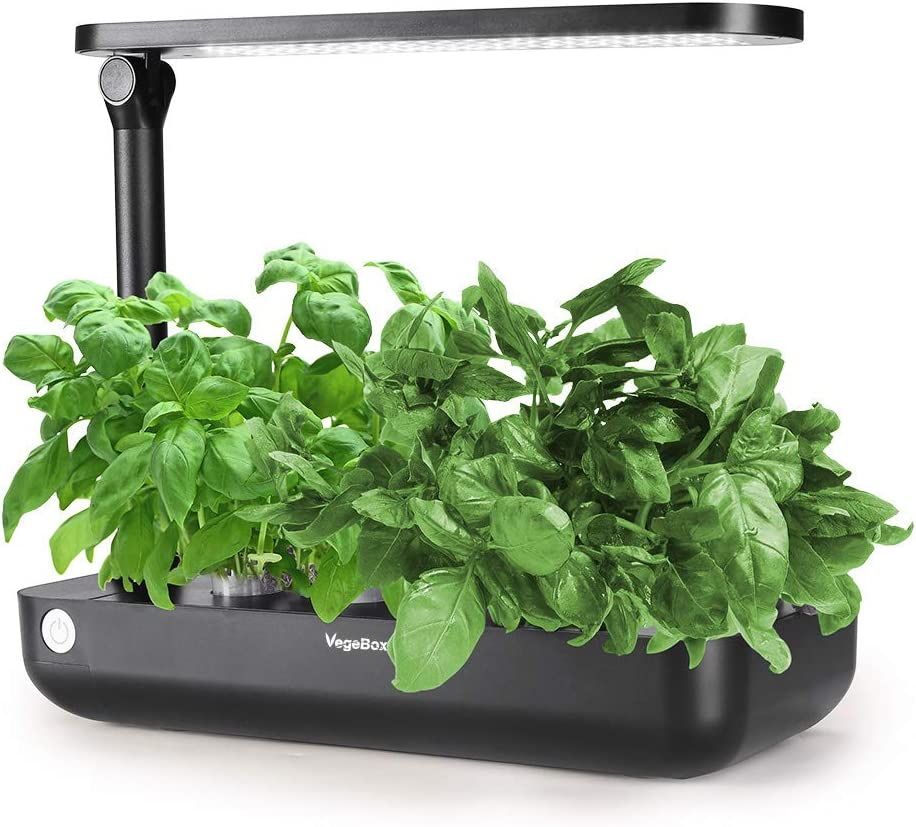 VegeBox Smart LED Hydroponics Growing System, Indoor LED Lighting Herb Garden Germination Kits (Table-Box, Black)