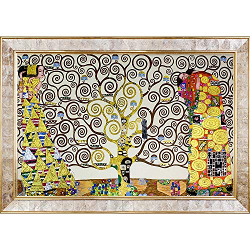 La Pastiche The Tree Of Life, Stoclet Frieze, 1909 Metallic Embellished Artwork By Gustav Klimt With Gold Mother Of Pearl - Monet Pearl Of Mother