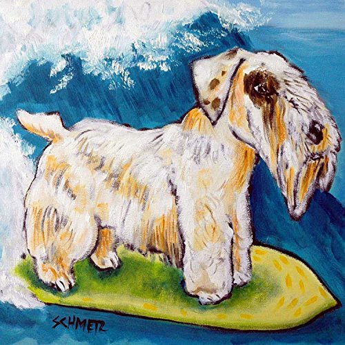 Sealyham Terrier Surfing Decor dog art tile coaster gift