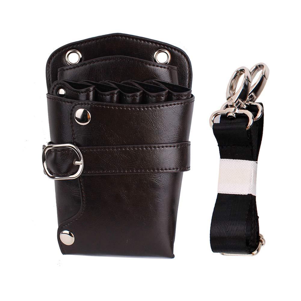 NACHEN Scissor Leather Pouch Holster with Belt for Hairdressers, Salon Hair Stylist Barber Scissors Shear Hairdressing Waist Holder Case Bag,Color1