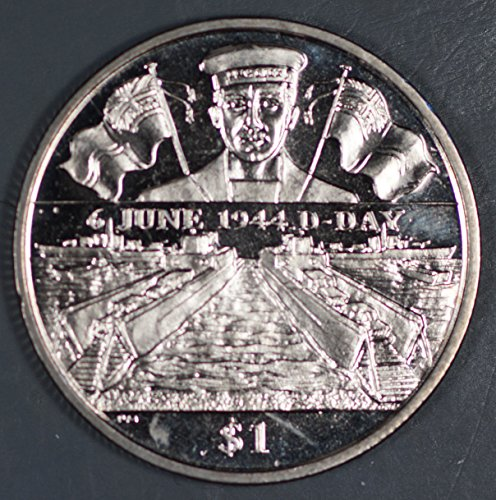 2004 VG British Virgin Islands 1 Dollar Coin Naval June 6 1944 D-Day Landing Commemorative Coin $1 MS 63