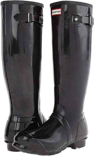 Hunter Original TALL Wellington Rain BOOTS Black GLOSS AUTHENTIC Womens Size NEW