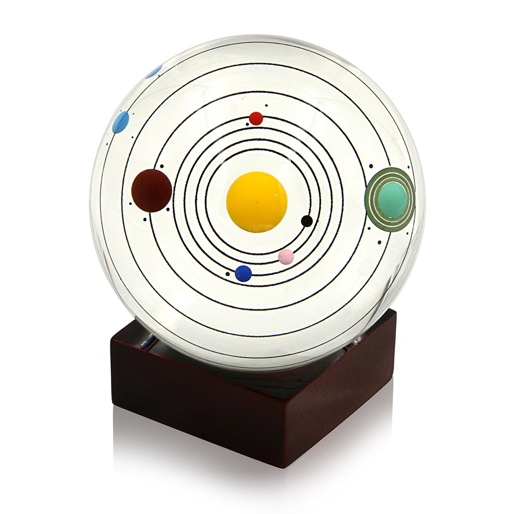 Sumnacon Clear Crystal Ball Sphere 80mm / 3 inch , Solar System Crystal Ball with Wood Stand, Planet Balls for Astronomer Decoration, Lover of Space, Kids and Student, No Pluto (Wooden Stand) by Sumnacon