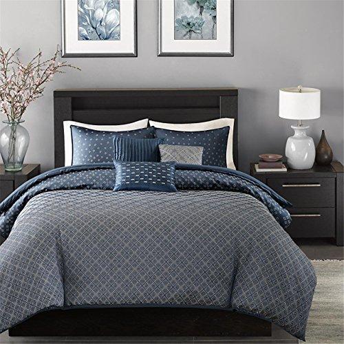 Madison Park Biloxi Duvet Cover Full/Queen Size - Navy, Geometric Duvet Cover Set - 6 Piece - Ultra Soft Microfiber Light Weight Bed Comforter ()