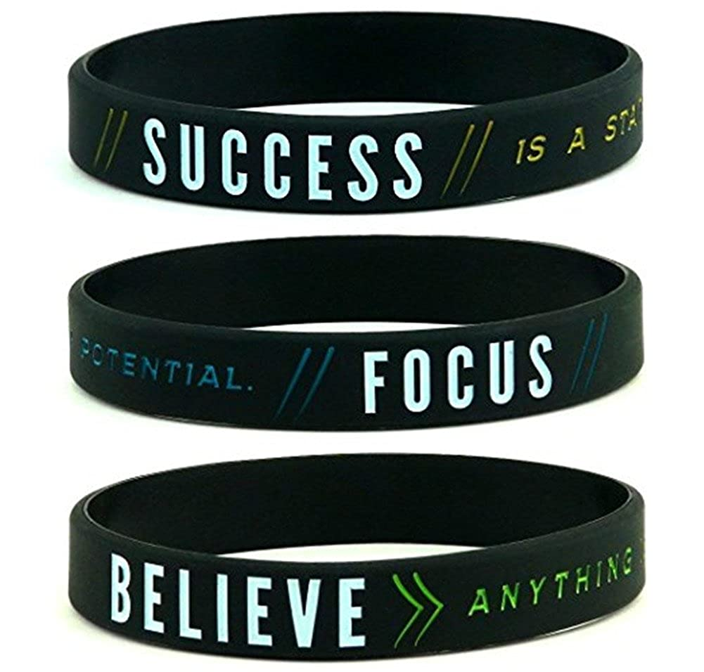 Comfybuy CF 3 Pieces Silicone Success Focus Believe Motivational Bracelets Black Rubber Sentimental Inspirational Wristband for Teens Adult for Outdoor Vacation Sports Gift Comfybuy Jewelry CF-HJ18060402-3pcs