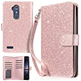zte imperial ll phone cases - UrbanDrama Case for ZTE ZMax Pro/ZTE Carry Z981, Sparkly Glitter PU Leather Cash & Credit Card Slot Protective Case Compatible for ZTE Zmax Pro/ZTE Carry Z981, Shiny Rose Gold