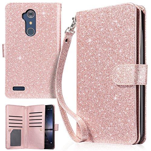UrbanDrama ZTE Zmax Pro Case, Zmax Pro Wallet Case, Sparkly Glitter PU Leather Cash & Credit Card Slot Protective Case for ZTE Zmax Pro/ZTE Carry Z981, Shiny Rose Gold (Zte Zmax Credit Card Phone Case)