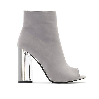Womens Zip Up Perspex Block Heels Open Toe Ankle Boots Grey Faux Suede 8