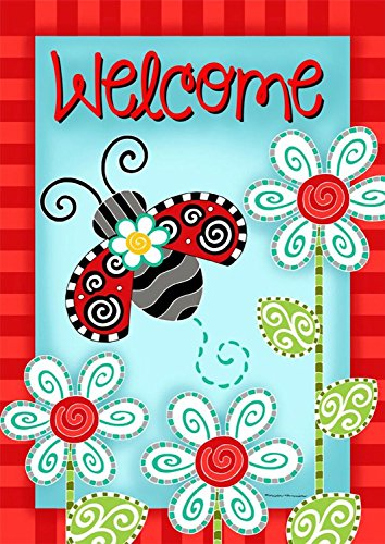 (Briarwood Lane Ladybug Welcome Spring Garden Flag Flowers 12.5