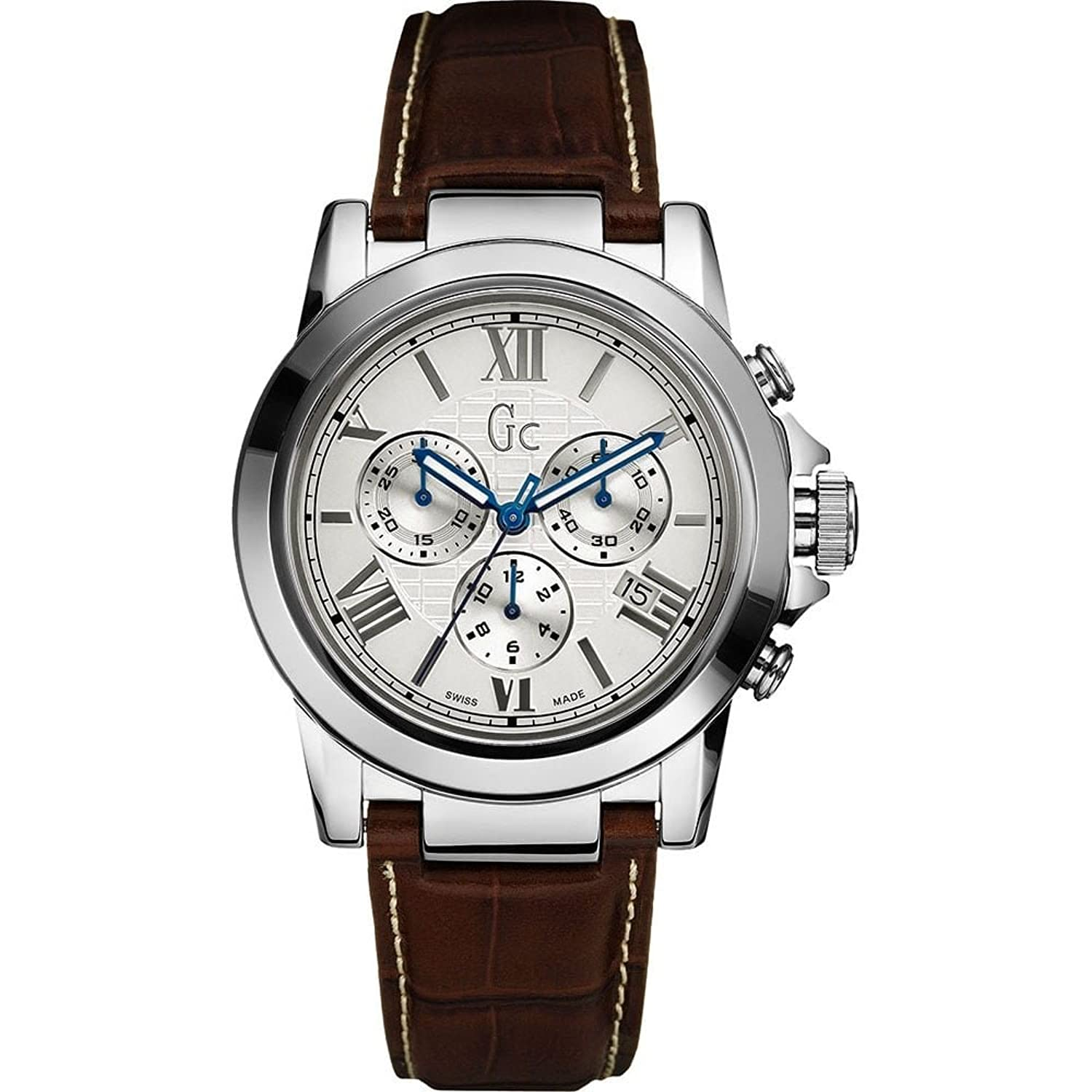 Guess Collection Herren 42mm Chronograph Braun Leder Armband Datum Uhr X41003G1