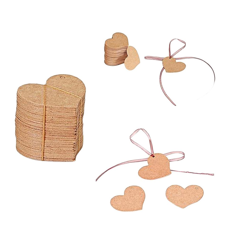 100pcs Arts /& Crafts Lautecho Heart Kraft Paper Tag Labels Printable Handmade Blank Gift Tags for Birthday Party Wedding Favors Decoration Gifts White