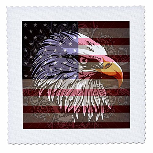 UPC 496116181014, 3dRose qs_116181_1 Ornate Patriotic Bald Eagle and US American Flag Pride Great for Fourth of July in dependence Day Quilt Square, 10 by 10-Inch