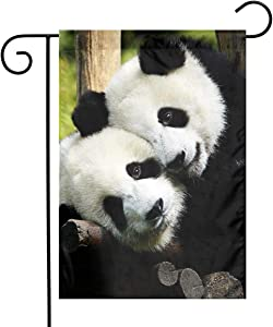 Panda Bear Garden Flags Home Indoor & Outdoor Welcome Decorations,Waterproof Polyester Yard Decorative for Game Family Party Banner