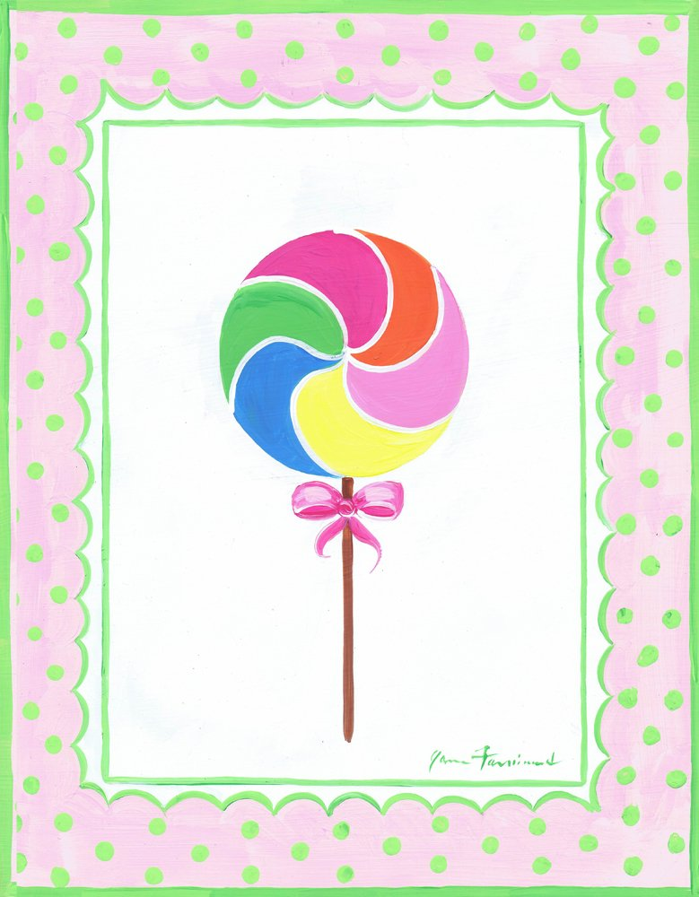 The Kids Room by Stupell Rainbow Lollipop with Green Bow Rectangle Wall Plaque brp-917