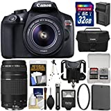 Canon EOS Rebel T6 Wi-Fi Digital SLR Camera & EF-S 18-55mm is II with 75-300mm III Lens + 32GB Card + Case + Flash + Battery/Charger + Tripod Kit