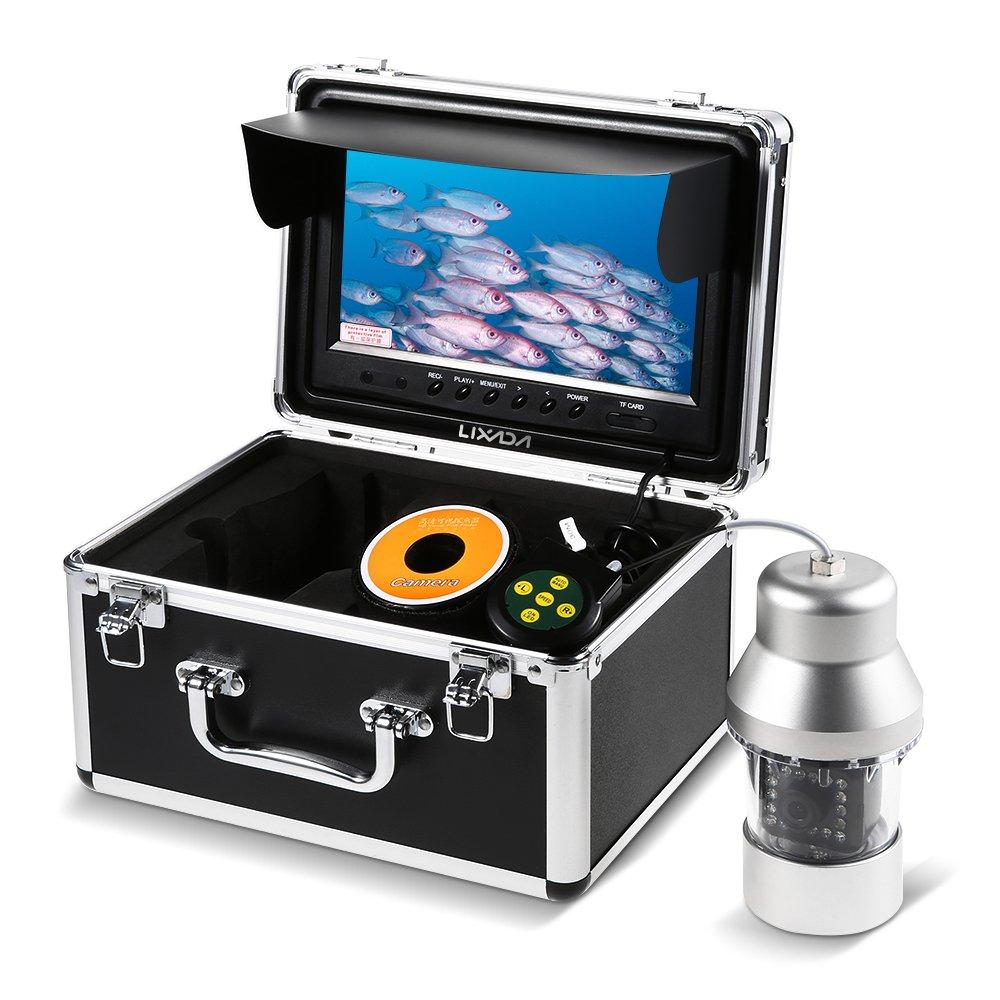 Lixada 水中釣りカメラ,魚群探知機,イプライン検査カメラ 防水 排水管 下水道検査カメラ 18 LEDナイトビジョン パ工業用内視鏡検査システム 9インチ液晶モニター 360度回転カメラ 30mケーブル付き シルバー