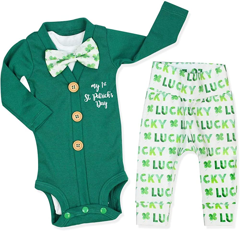 Newborn Baby Boys Green Day Outfit My 1st ST Patricks Day Bodysuit Romper Pants Clothes 3Pcs Sets