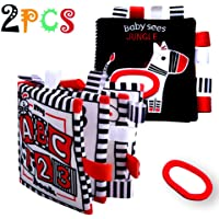 Black and White Books for Newborn 0-6 Months Tummy Time, 2 High Contrast Stroller/ Gym/ Crib Toys Touch and Fell Soft…