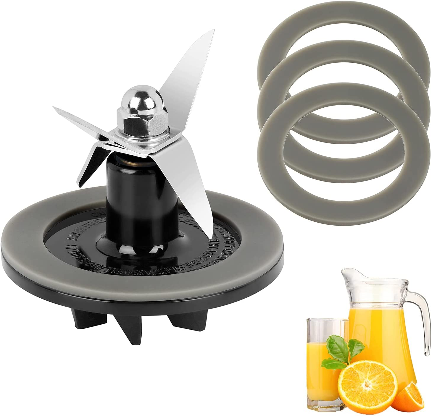 Replacement Parts Blender Blade Assembly with 3 Pieces Blender Gaskets,Fit for Cuisinart CBT-500, SB5600, CB600