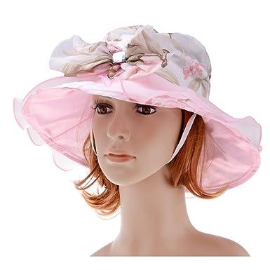 vbiger Hat Floral Women s Chiffon for Wedding Ceremonies Rose 2 Size Tour    56- 15542284fe16