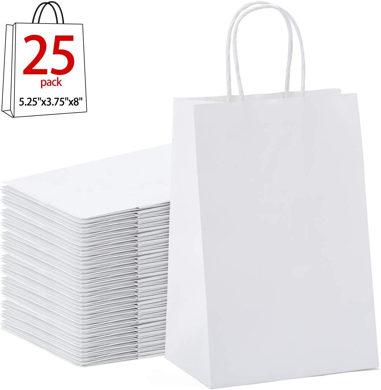Halulu - Bolsas de papel de estraza de color blanco. Bolsas de regalo con asas. 25 unidades de 12,7 x 9,52 x 20,32 cm