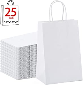 "GSSUSA Halulu Kraft White Paper Bags - Gift Bags with Handles - 25pc 5""x3.75""x8"" Shopping Bags"