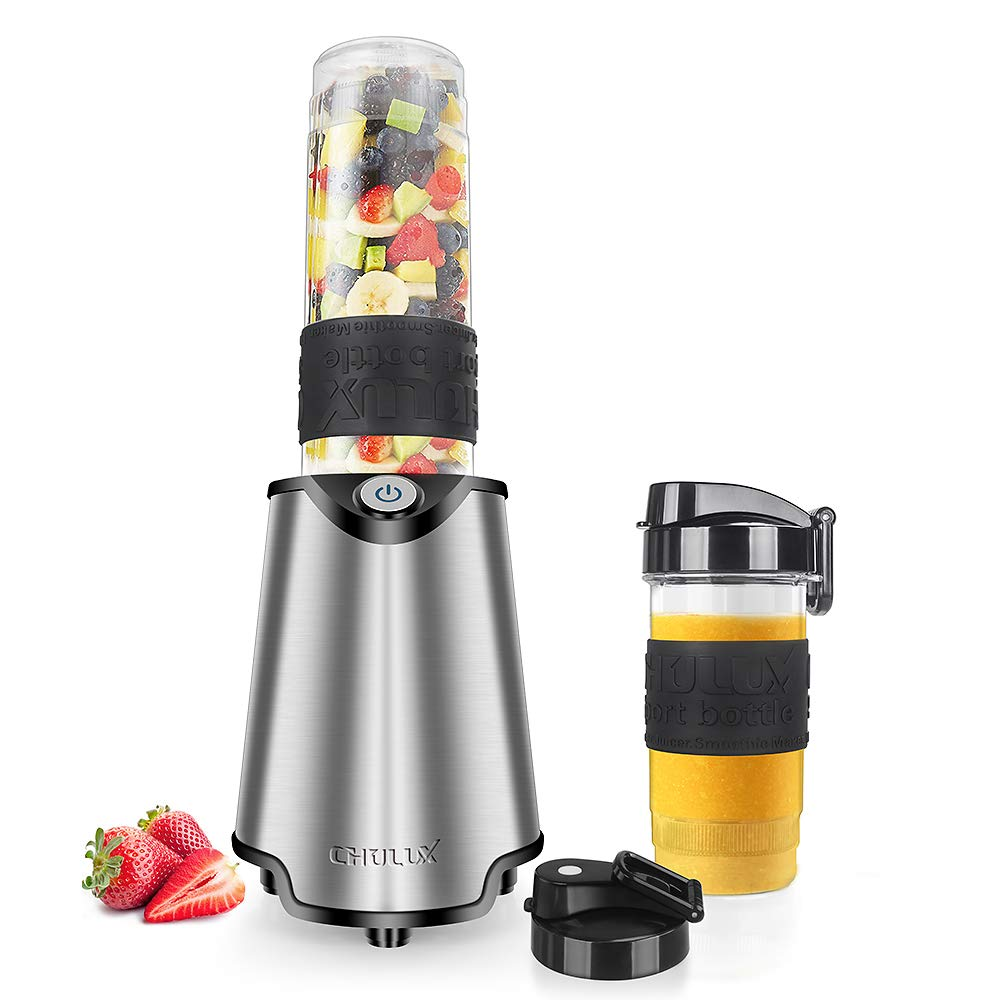CHULUX Stainless Steel Smoothie Blender Machine with Sharp Blade Assemby,2 Bottles with Floded Spout Lids for Protein Shake and Juice