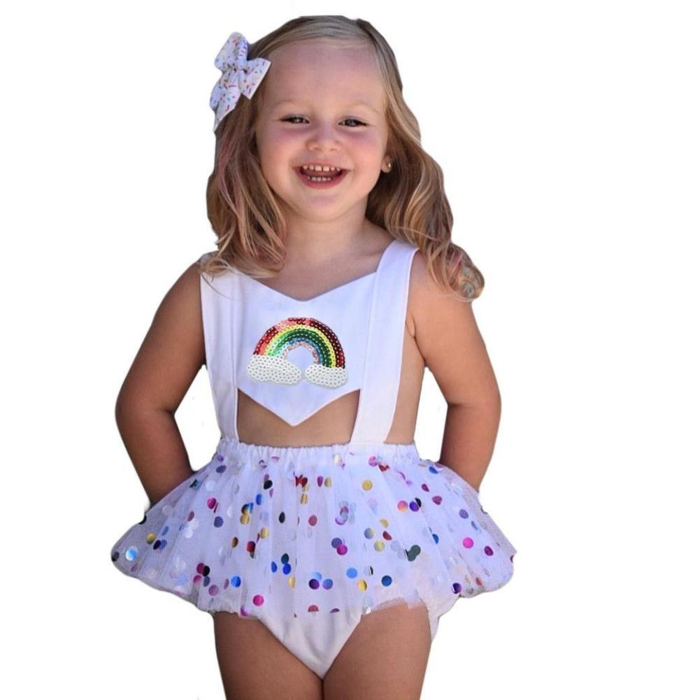 Beikoard Niña Vestido Liquidación, Moda Lentejuelas Bowknot Vestido Chica Adorable Arco Iris Hilados Falda Mini Vestido: Amazon.es: Ropa y accesorios
