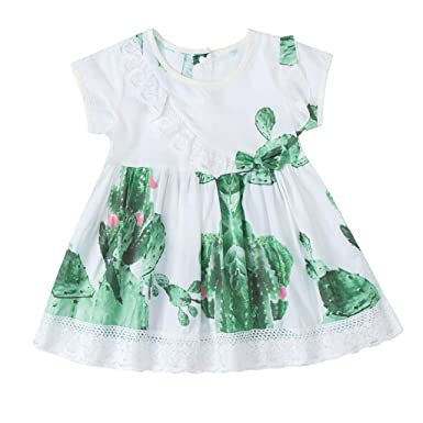 b9ee53fb89a0e KEERADS-Vêtements Bébé Enfants Filles Toddler Froncé Patchwork Dentelle  Impression À Manches Courtes Col Rond