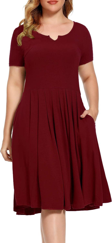 BEDOAR Women's Casual Plus Award Size V-notchgreat New life Neckline Plea Dress
