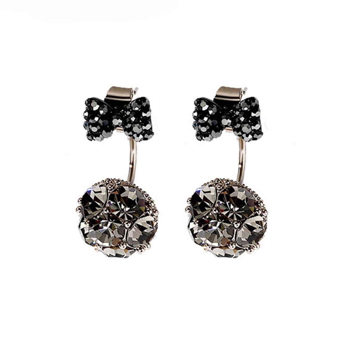 Crystal Earrings Jacket Fashion CZ Stud Earrings for Women Girls DuoTang