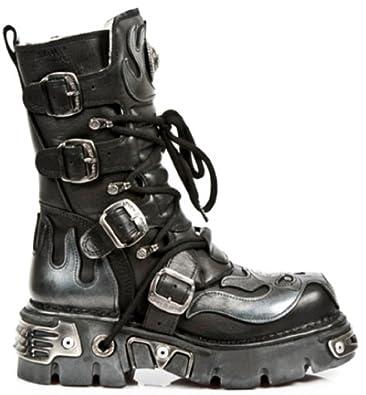 Black Premium - Rock Reb Men's Biker Motorcycle Leather Boot Shoes Black 13 NEW