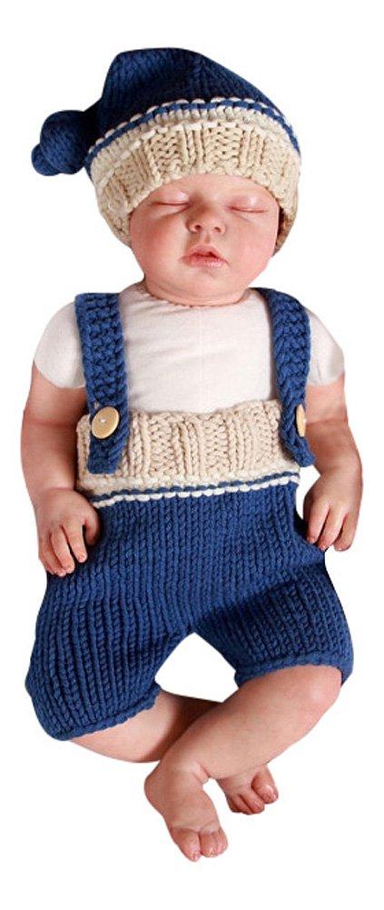 2 tlg. Baby Fotos Häkelkostüm Strick Newborn Fotoshooting Blau Beige 0-1Monat No Name